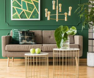 rich forest green wall.