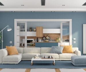 blue gray painted wall.