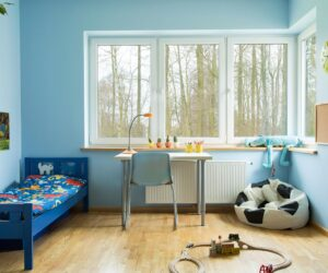 toddlers bedroom painted baby blue.